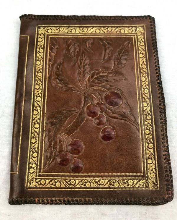 Antique Victorian Leather Blotter / Writing Pad / Pair / Brown And Gold